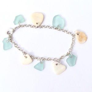Jewelry - SEAGLASS BRACELET Aqua Blue with Seashells